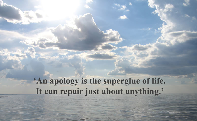 An apology is the superglue of life, it can repair just about anything.